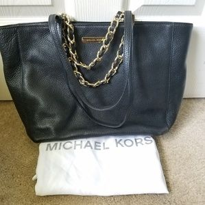 Michael Kors Black Leather Tote Bag Double Straps